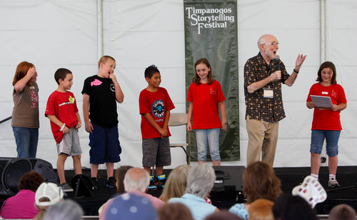 Trent Nelson  |  The Salt Lake Tribune Students from Forbes Elementary join Syd Lieberman at the Timpanogos Storytelling Festival in Orem Friday, August 30, 2013.