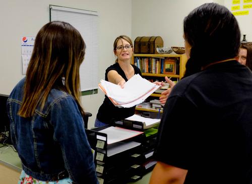Trent Nelson  |  The Salt Lake Tribune Teacher Allison Mower works with students at Polaris High School Friday, August 30, 2013 in Orem.
