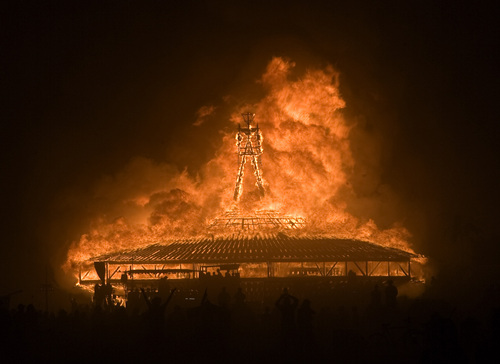 Rick Egan  | The Salt Lake Tribune   The Burning Man goes up in flame Saturday evening during the annual Burning Man Festival in the Black Rock Desert, Nev., August 31, 2013.