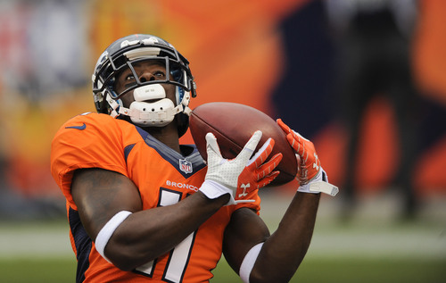 Denver Broncos wide receiver Trindon Holliday (11) catches a kickoff by the St. Louis Rams in the second quarter of a preseason NFL football game, Saturday, Aug. 24, 2013, in Denver. (AP Photo/Jack Dempsey)