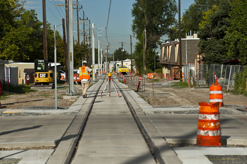 Chris Detrick  |  The Salt Lake Tribune Construction looking West on the Sugar House streetcar S Line Corridor near 800 East and 2200 South Thursday September 5, 2013. The streetcar is scheduled to be running for the public on December 8.