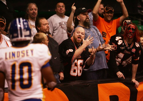 Kim Raff  |  The Salt Lake Tribune Blaze fans taunt Storm player Michael Lindsey before a kick off during the first quarter of a game at EnergySolutions Arena in Salt Lake City on April 6, 2013.