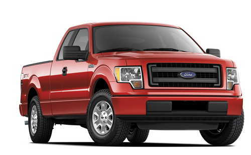 This undated photo provided by Ford shows the 2014 Ford F-150 STX SuperCrew truck.  Americans are paying record prices for new cars and trucks, and they have only themselves to blame. The average sale price of a vehicle in the U.S. hit $31,252 last month, up almost $1,000 over the same time last year, a sharp increase driven by consumers loading cars up with high-end stereos, navigation systems, leather seats and safety gadgets.   Many in the business think prices will moderate some because people who kept their cars through the recession and haven't replaced them yet won't load up on options.  Ford will try to please them this fall by adding a four-door cab to its F-150 STX line. Previously, the STX only came with a two-door cab. (AP Photo/Ford)