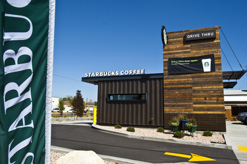 Chris Detrick     The Salt Lake Tribune This new Starbucks drive-through at 3300 S. West Temple in South Salt Lake is made from recycled shipping containers.