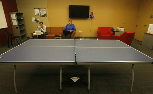 Scott Sommerdorf   |  The Salt Lake Tribune The Leadership Lounge for graduate students on the 3rd floor comes equipped with a ping pong table. The new Spencer Fox Eccles Business Building at the University of Utah, Thursday, September 5, 2013.