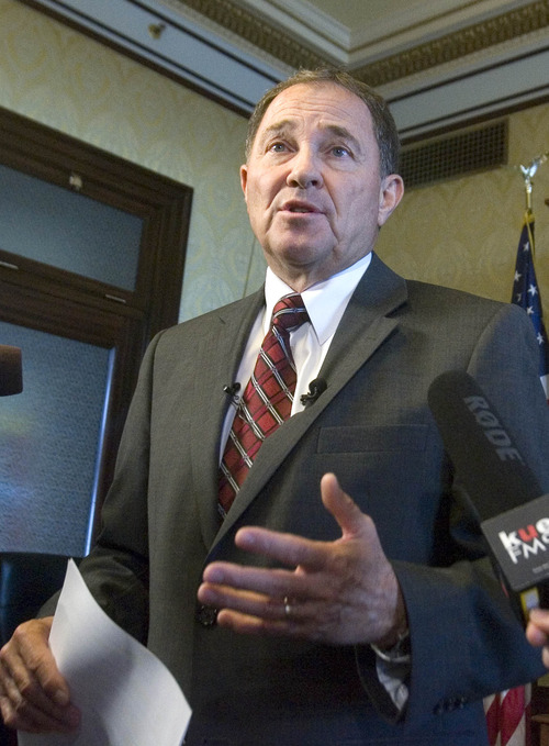 Paul Fraughton  |   The Salt Lake Tribune Gov. Gary Herbert at a press conference in his office where he formally asked SITLA to reconsider its oil and gas lease agreement with Anadarko for areas in the Book Cliffs. Tuesday, August 27, 2013