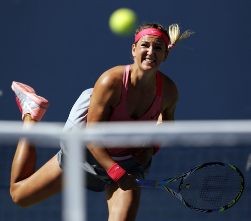 Victoria Azarenka, of Belarus, serves against Flavia Pennetta, of Italy, during the semifinals of the 2013 U.S. Open tennis tournament, Friday, Sept. 6, 2013, in New York. (AP Photo/Charles Krupa)