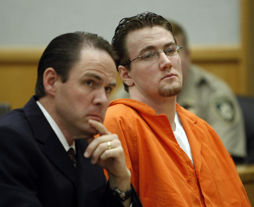 Joshua Binkerd, right, and his defence attorney Ed Jones listen to the testimony of the mother of Ashley Sparks during the sentencing hearing of Binkerd's for the shooting death of Sparks in 2008.  Binkerd was sentenced in the Wasatch County Courthouse in Heber City, Utah.  Wednesday, June 16, 2010  Stuart Johnson, Deseret News