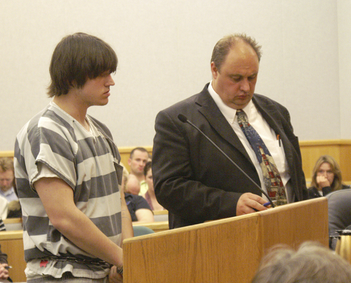 Christopher Alvey addresses the court, along with his defense attorney, Sidney Unrau Photo by Laurie Wynn - Wasatch Wave