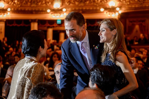Spain's Crown Prince Felipe, center, and Princess Letizia speak with Japan's Imperial Highness Princess Takamado as they arrive for the gala of the International Olympic Committee (IOC) Session at Colon Theater in Buenos Aires, Argentina, Friday, Sept. 6, 2013. A day before the host of the 2020 Olympics is selected, Madrid, Tokyo and Istanbul made their closing arguments to IOC voters Friday. (AP Photo/Fabrice Coffrini, Pool)