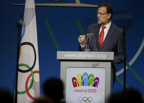 Spain's Prime Minister Mariano Rajoy, addresses the IOC session during the Madrid 2020 bid presentation in the 125th International Olympic Committee session in  Buenos Aires, Argentina, Saturday, Sept. 7, 2013. Madrid, Istanbul and Tokyo are competing to host the 2020 Summer Olympic Games. (AP Photo/Natacha Pisarenko)