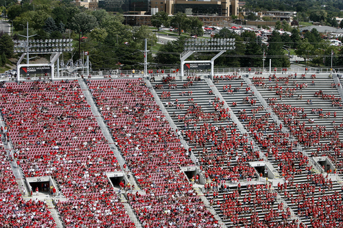 Scott Sommerdorf   |  The Salt Lake Tribune The stadium emptied out during the second half.Utah crushed Weber State 70-7, Saturday, September 7, 2013.