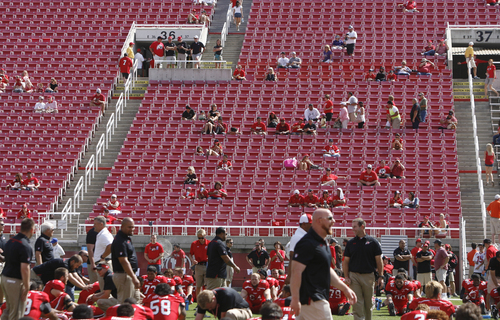 Scott Sommerdorf   |  The Salt Lake Tribune The stands were unusually empty :30 minutes from kickoff against Weber State, Saturday, September 7, 2013.