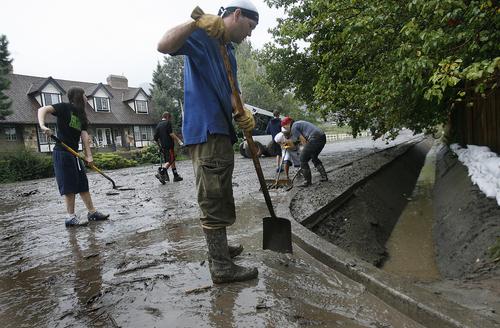 Scott Sommerdorf   |  The Salt Lake Tribune after mudslides in Alpine, Sunday, September 8, 2013.