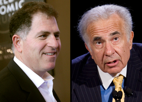"""FILE - Dell founder Michael Dell, left, in a Jan. 26, 2011 file photo, and Carl Icahn, in an Oct. 7, 2007 file photo, are seen in a combination photo. cahn is giving up his bitter takeover fight for Dell Inc. a few days before shareholders are scheduled to consider the latest buyout offer from the struggling computer maker's founder Michael Dell. Icahn said Monday, Sept. 9, 2013 in a letter to shareholders that he still thinks Michael Dell's bid to take his company private undervalues the business and freezes shareholders out of any future gains. But Icahn also said it would be """"almost impossible"""" to defeat that offer in a vote scheduled for Thursday. (AP Photos/Virginia Mayo, Mark Lennihan, File)"""