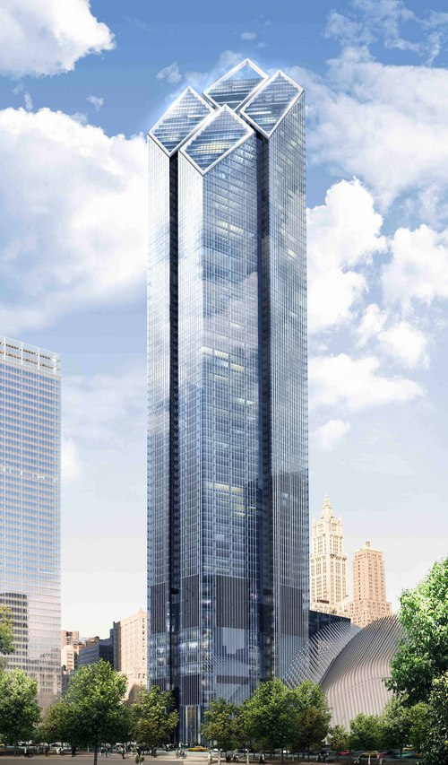 FILE - In this artist's rendering provided by Foster and Partners via Silverstein Properties on Sept. 4, 2007, the exterior of 2 World Trade Center is shown. The 88-story building to be located at the northeast corner of the site will not be built until the market improves enough to fill it. (AP Photo/Foster and Partners via Silverstein Properties, File)