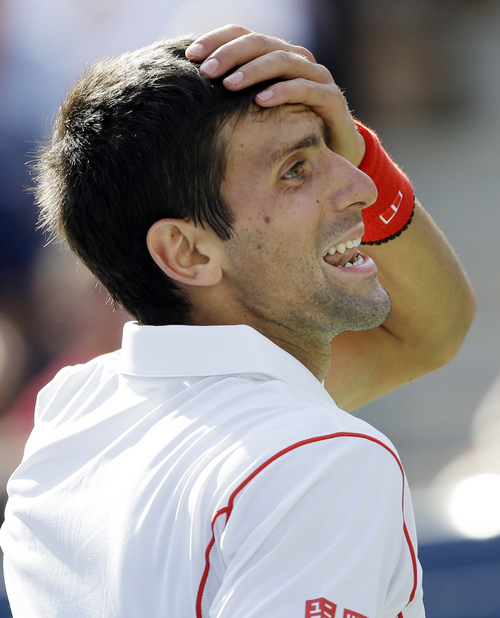 Novak Djokovic, of Serbia, reacts to his coach's box after a point to Stanislas Wawrinka, of Switzerland, during the semifinals of the 2013 U.S. Open tennis tournament, Saturday, Sept. 7, 2013, in New York. (AP Photo/David Goldman)