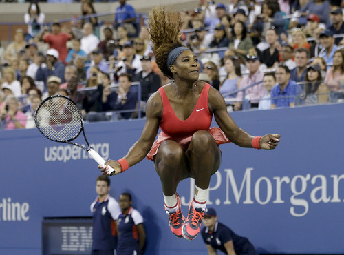 Serena Williams reacts after beating Victoria Azarenka, of Belarus, during the women's singles final of the 2013 U.S. Open tennis tournament, Sunday, Sept. 8, 2013, in New York. (AP Photo/David Goldman)
