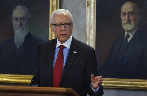Leah Hogsten     Tribune file photo Sen. Orrin Hatch came out Tuesday night in opposition to military intervention in Syria. Hatch's opposition makes a unanimous Utah congressional delegation against President Barack Obama's call for a missle attack.
