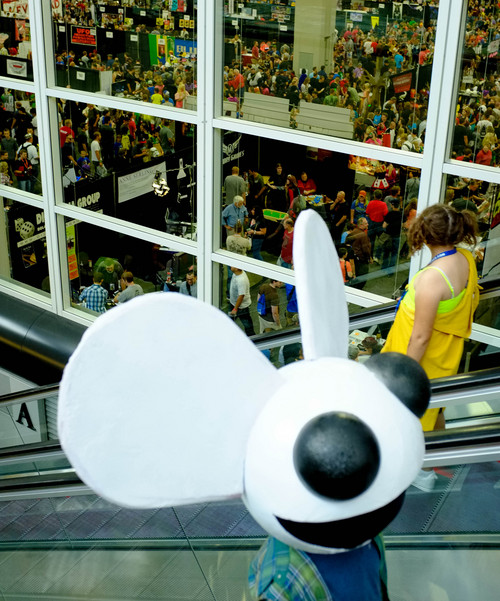 Trent Nelson  |  The Salt Lake Tribune Deadmau5 on the escalator at Salt Lake Comic Con in Salt Lake City Saturday, September 7, 2013.