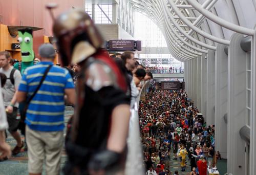 Trent Nelson  |  The Salt Lake Tribune Large crowds fill the Salt Palace Convention Center at Salt Lake Comic Con in Salt Lake City on Saturday.
