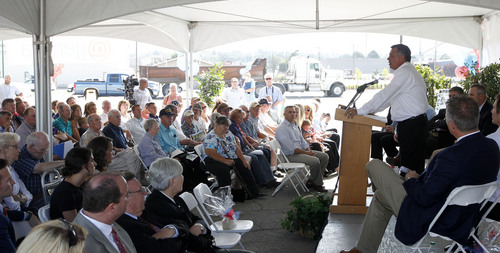 Al Hartmann  |  The Salt Lake Tribune Gerald Anderson, with Anderson Development, announces a large master-planned community on the site of the old Geneva steel mill in Utah County on Friday, Sept. 6. The site is to be transformed into a community with 2 million square feet of retail, 3.5 million square feet of office space, and 5 million of industrial space and homes for 26,000 residents.