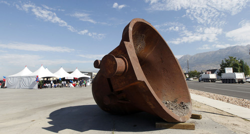 Al Hartmann  |  The Salt Lake Tribune Huge steel bucket from the old Geneva Steel Mill in Lindon lies at the intersection of Geneva Road and Center Street. On Friday, Anderson Development officially kicked the project into gear. To be called @Geneva, the community eventually will be home to 26,000 residents when it's fully built, probably in 2025, Gerald Anderson, one of the owners of Sandy-based Anderson Development.