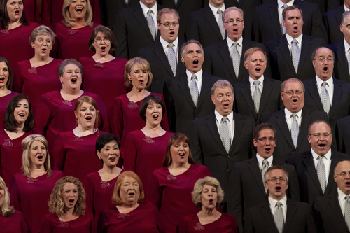 Michael Mangum  |  Special to the Tribune  The Mormon Tabernacle Choir performs with James Taylor during the O.C. Tanner Gift of Music Gala Concert featuring the Utah Symphony at the LDS Conference Center on Friday, September 6, 2013.