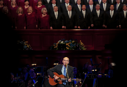 Michael Mangum  |  Special to the Tribune  James Taylor performs at the O.C. Tanner Gift of Music Gala Concert featuring the Utah Symphony and the Mormon Tabernacle Choir at the LDS Conference Center on Friday, September 6, 2013.
