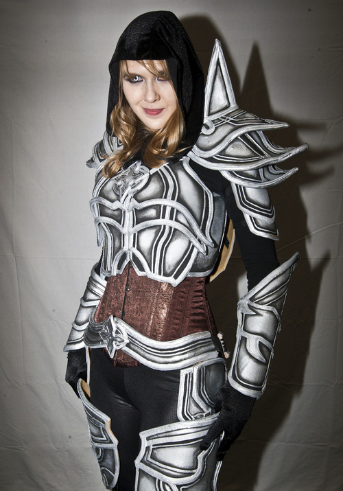 Chris Detrick  |  The Salt Lake Tribune Kelsy Anderson, of Riverton, poses for a portrait as a Diablo 3 demon hunter during the inaugural Salt Lake Comic Con at the Calvin L. Rampton Salt Palace Convention Center on Friday.