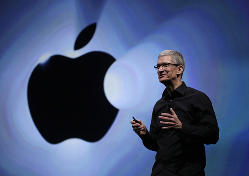 """Apple CEO Tim Cook speaks following an introduction of the new iPhone 5 in San Francisco, Wednesday, Sept. 12, 2012. Apple is unveiling the latest version of its iPhone, possibly named the """"iPhone 5S,"""" on Sept. 10, 2013. It's rumored that it will come in a new gold or """"champagne"""" color as well as have a faster processor, better camera and possibly a fingerprint sensor for security. Apple also is poised to introduce a new low-cost version of the iPhone, possibly called the """"iPhone 5C,"""" that will be similar in specifications to this year's iPhone 5 but with a cheaper plastic backing that also will come in other colors. But what about other Apple products? It's more than likely that the Cupertino, Calif., company will introduce more from its stable of products than just the next iPhone and a new low-cost phone.(AP Photo/Eric Risberg)"""