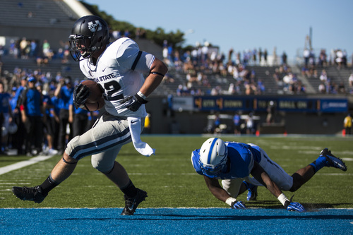 Utah State tight end Keegan Anderson, left, carries the ball into the end zone for a touchdown during an NCAA college football game against Air Force, Saturday, Sept. 7, 2013, in Air Force Academy, Colo. Utah State won 52-20. (AP Photo/The Gazette, Kent Nishimura)  MAGAZINES OUT