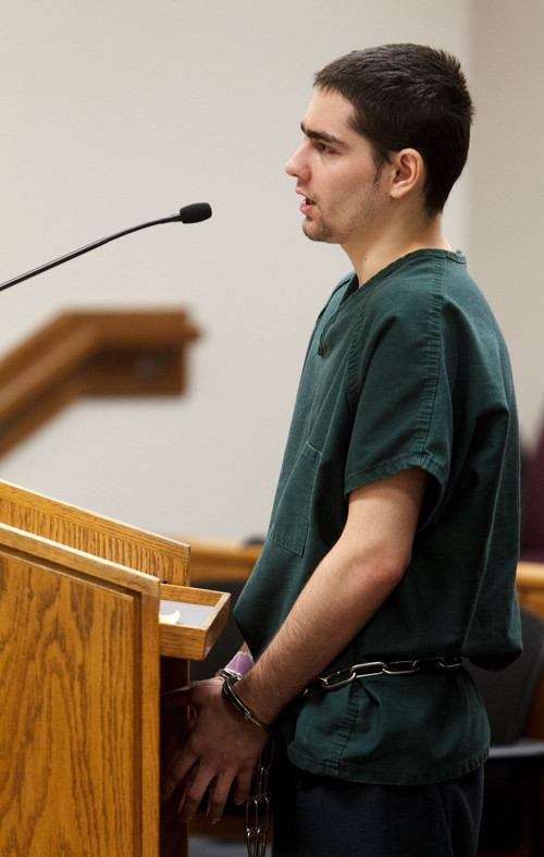 Trent Nelson  |  The Salt Lake Tribune Joshua Petersen pleads guilty to shooting his baby to Judge Darold McDade Tuesday, September 10, 2013 in 4th District Court in Provo.