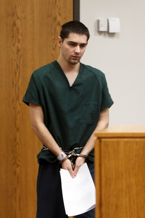 Trent Nelson  |  The Salt Lake Tribune Joshua Petersen pleaded guilty to shooting his baby to Judge Darold McDade Tuesday, September 10, 2013 in 4th District Court in Provo.
