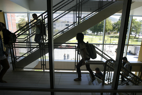 Scott Sommerdorf   |  The Salt Lake Tribune Students use one of the staircases between classes inside the new Spencer Fox Eccles Business Building at the University of Utah, Thursday, September 5, 2013. The U. is among the Utah schools included in new rankings released Tuesday by U.S. News and World Report. Its business school was also ranked.