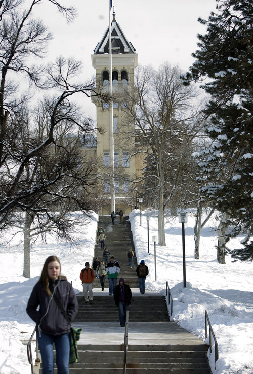 Kim Raff  |  The Salt Lake Tribune Utah State University students walk out of the Old Main on campus in Logan on February 25, 2013. USU is among the Utah schools included in new rankings released Tuesday by U.S. News and World Report.