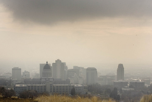 Paul Fraughton | Tribune file photo  Salt Lake City's downtown area is shrouded in an inversion leading to a red air quality day.in the winter of 2011.