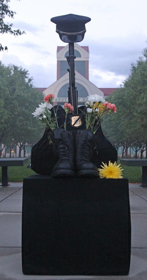 Rick Egan  | The Salt Lake Tribune   Derek Johnson's memorial, at the 9/11 ceremony in front of the Sandy City Hall, Wednesday, September 11, 2013.