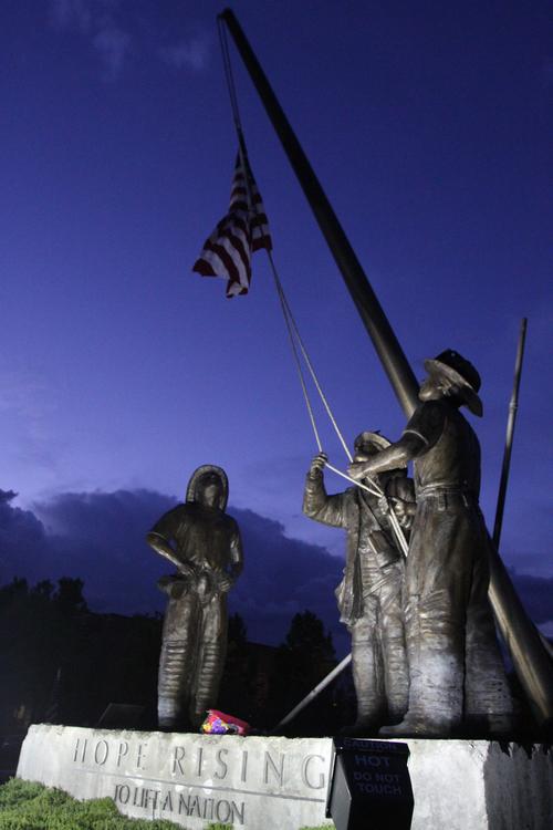 Rick Egan  | The Salt Lake Tribune   The Hope Rising statue in front of the Sandy City Hall, Wednesday, September 11, 2013.