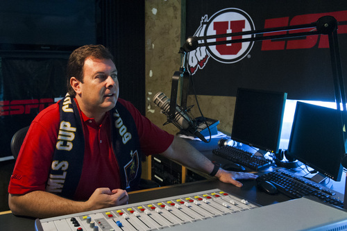 Chris Detrick  |  The Salt Lake Tribune Sportscaster Bill Riley in the ESPN 700 studios in Salt Lake City Wednesday September 4, 2013. Riley voices the play-by-play with Real Salt Lake and the University of Utah.