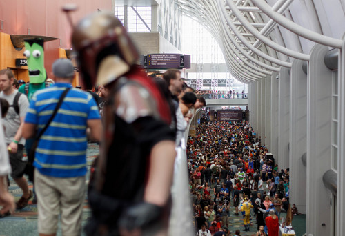 Trent Nelson  |  The Salt Lake Tribune Large crowds fill the Salt Palace Convention Center at Salt Lake Comic Con in Salt Lake City on Saturday.