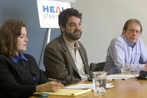 Al Hartmann  |  The Salt Lake Tribune Attorney Lara Swensen, left, and Matt Pacenza, policy director with HEAL Utah along with Dan Mayhew, conservation chairman with the Utah Sierra Club hold press conference announcing a request that the state reconsider its approval of water rights for Utah's first proposed nuclear power plant.