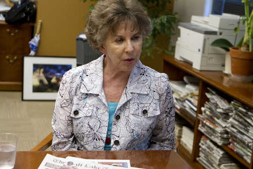 Jeremy Harmon  |  The Salt Lake Tribune  Tribune Editor Nancy Conway talks about a reorganization at the paper on Thursday, Sept. 12, 2013. Nineteen employees were laid off. Conway, and editorial page editor Vern Anderson will retire at the end of the month.