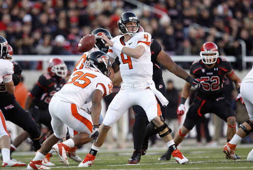 Chris Detrick  |  The Salt Lake Tribune Oregon State Beavers quarterback Sean Mannion (4) throws the ball during the first half of the game at Rice-Eccles Stadium Saturday October 29, 2011. Utah is winning 24-0.