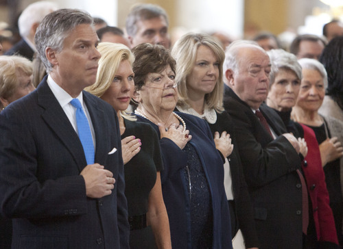 Steve Griffin | The Salt Lake Tribune   Former Utah governor, Jon Huntsman Jr., former First Lady, Mary Kaye Huntsman, former Utah Governor Olene Walker, former Utah Governor Norm Bangerter, third from right, and former Utah First Lady Norma Matheson, far right, listen to the National Anthem sung by Bradley, Daniel and Nathan Herbert during inauguration ceremony Gary Herbert as Utah's 17th Governor at the Utah State Capitol in Salt Lake City, Utah Monday January 7, 2013.