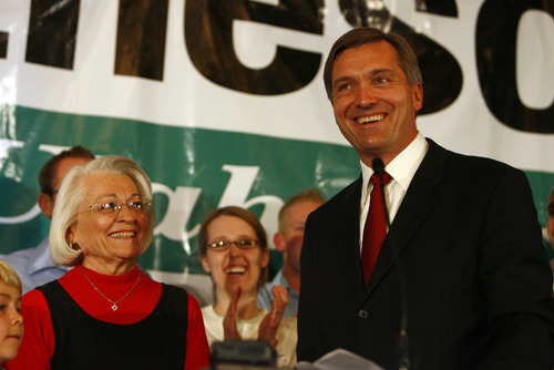 U.S. House of Representatives Jim Matheson, right, recognizes his mother Norma.  He is expected to retain his House seat. The Democratic Party election headquarters located at the Marriott hotel, Salt Lake City, UT. photo by Danny Chan La 11-7-2006 SL Tribune