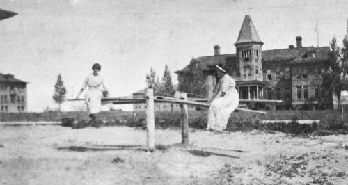 Salt Lake Tribune archive  Two young ladies play outside the Albion State Normal School  in Albion, Idaho around 1900. The school was established by the Idaho Legislature in 1893, as one of two Normal schools in the state. (The other, in Lewiston, is now Lewis-Clark State College.) Citizens of Albion had actively lobbied for the school's establishment, and donated land and labor for the new campus.
