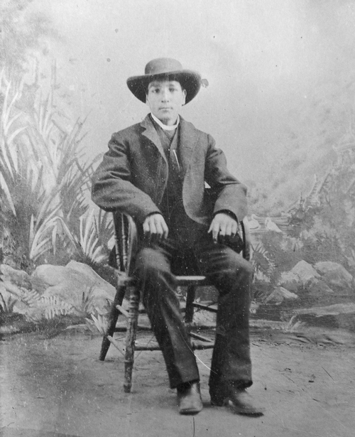 """Salt Lake Tribune archive  J.N.""""Six-shooter Newt"""" Adams at age 18 in 1888. Adams played a major role in the development of Southeastern Idaho. Adams was the first white (non-Native American) child born in what is now Jefferson County, Idaho. During his lifetime he was an entrepreneur, outfitter and explorer, an Army guide and he broke horses for both stage companies and the Army during the Spanish American war. He also established the first Idaho Pioneer Day independent from Utah in 1916."""
