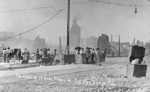 Salt Lake Tribune archive  Frist St. and 13th Ave. in Nampa, Idaho following the great fire of 1909. The fire burned several blocks of downtown Nampa.