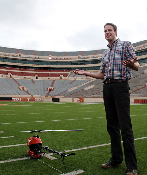 The Associated Press  Todd Humphreys, director of the University of Texas Radionavagation Laboratory, in June explains an experiment involving unmanned drones to high school students participating in a summer engineering program at Darrell K. Royal Memorial Stadium in Austin, Texas. Texas is among seven states to recently pass a law limiting drone use in civilian airspace. While discussion in almost every state legislature has mainly focused on protecting private citizens from too much surveillance by law enforcement, the new law in Texas limits the use of drones by public entities and ordinary citizens.